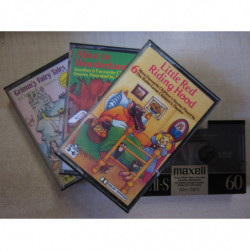 Lot of Three CASETTES, AUDIO-STORIES for Childrens in ENGLISH and a CASSET TAPE to record MAXELL of high quality of 60mts NEW an