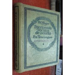 DICCIONARIO TÉCNICO DE BOLSILLO EN TRES LENGUAS Alemán - Ingles - Español TOMO I