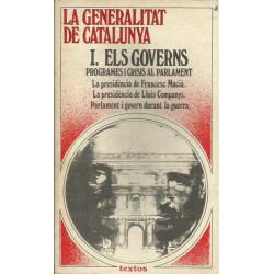 LA GENERALITAT DE CATALUNYA, I. ELS GOVERNS. Programes i Crisis al Parlament.