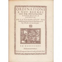 ORDINATIONS E NOU REDREÇ DE LA UNIVERSITAT DE BARCELONA 1596